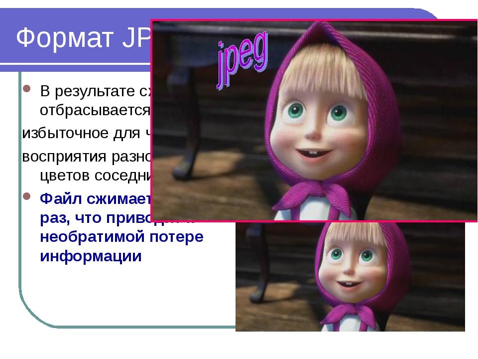 2010 Bolgova N.A. * Формат JPEG В результате сжатия отбрасывается избыточное...