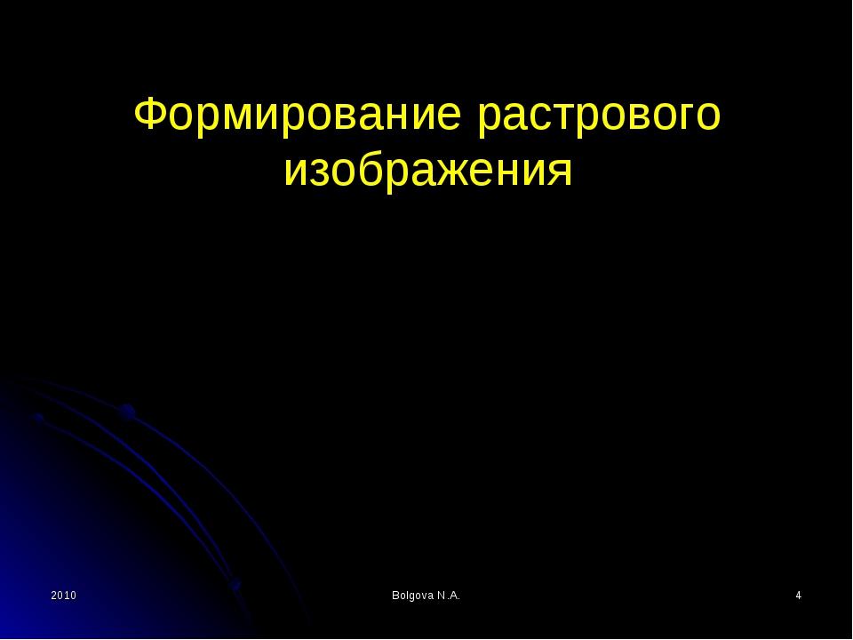 2010 Bolgova N.A. * Формирование растрового изображения Bolgova N.A.