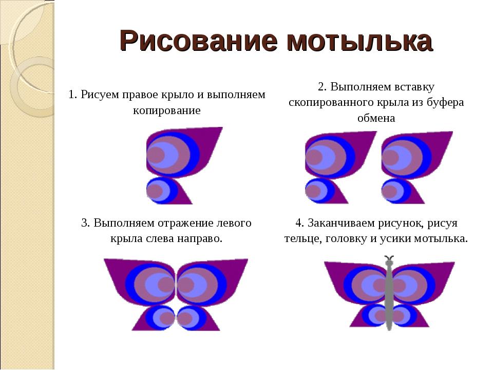 Рисование мотылька 1. Рисуем правое крыло и выполняем копирование2. Выполняе...