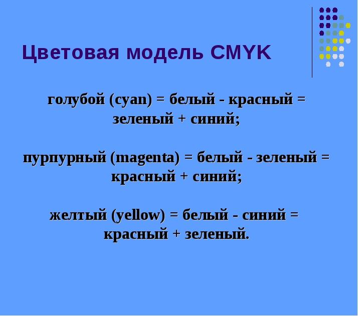 голубой (cyan) = белый - красный = зеленый + синий; пурпурный (magenta) = бел...