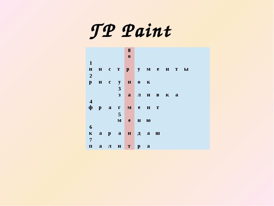ГР Paint 8 о 1 и н с т р у м е н т ы 2 р и с у н о к 3 з а л и в к а 4 ф р а...