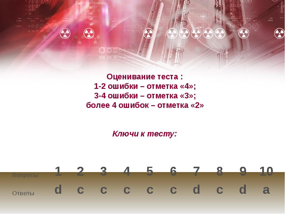 Оценивание теста : 1-2 ошибки – отметка «4»; 3-4 ошибки – отметка «3»; более...