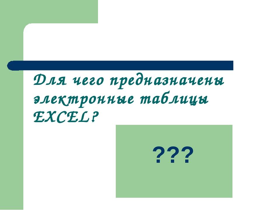 Для чего предназначены электронные таблицы EXCEL? Выполнение и автоматизация...