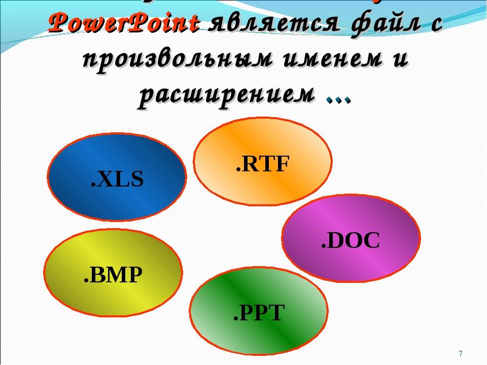 * .XLS .DOC .BMP Документом Microsoft PowerPoint является файл с произвольным...