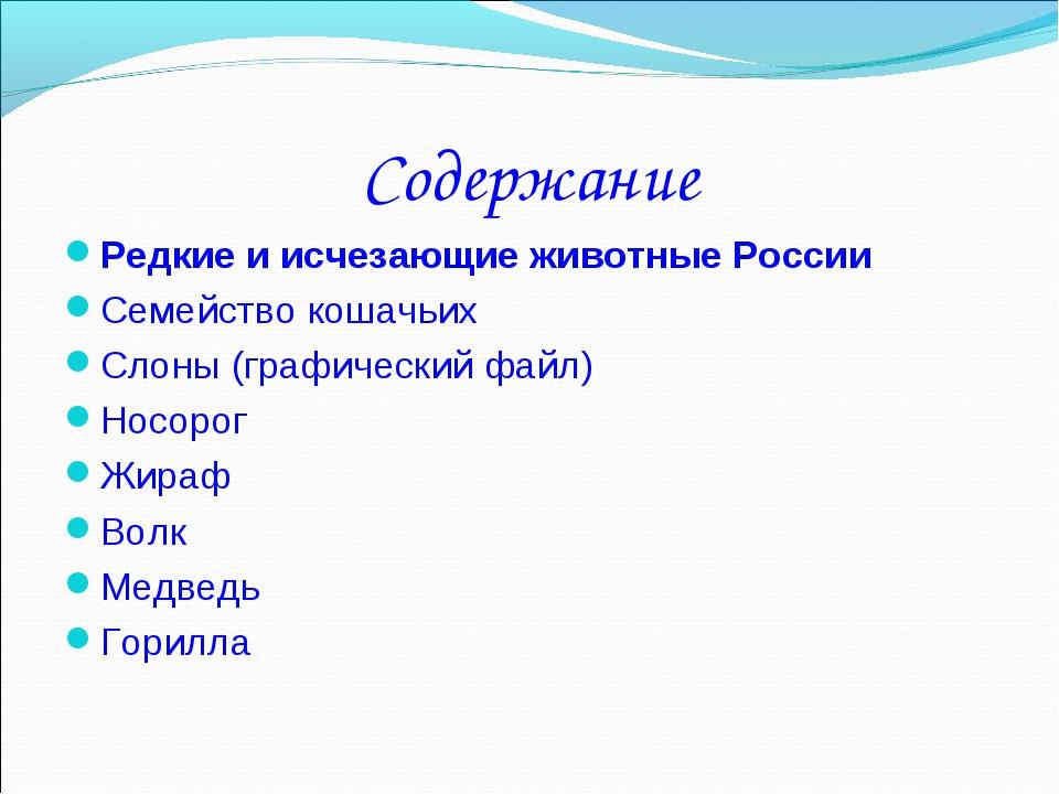 Содержание Редкие и исчезающие животные России Семейство кошачьих Слоны (граф...