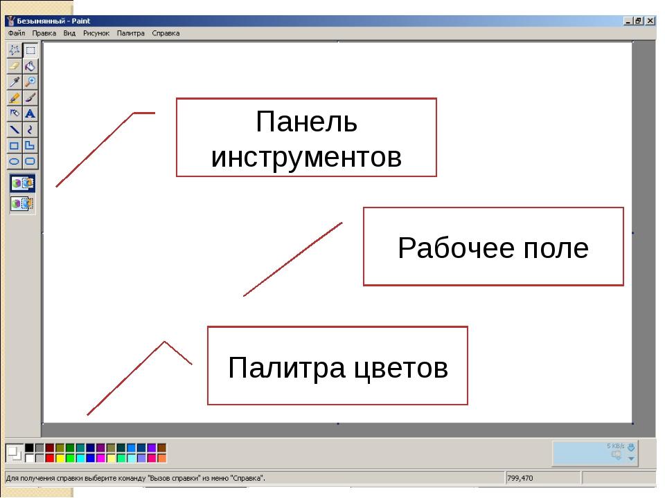 Панель инструментов Палитра цветов Рабочее поле