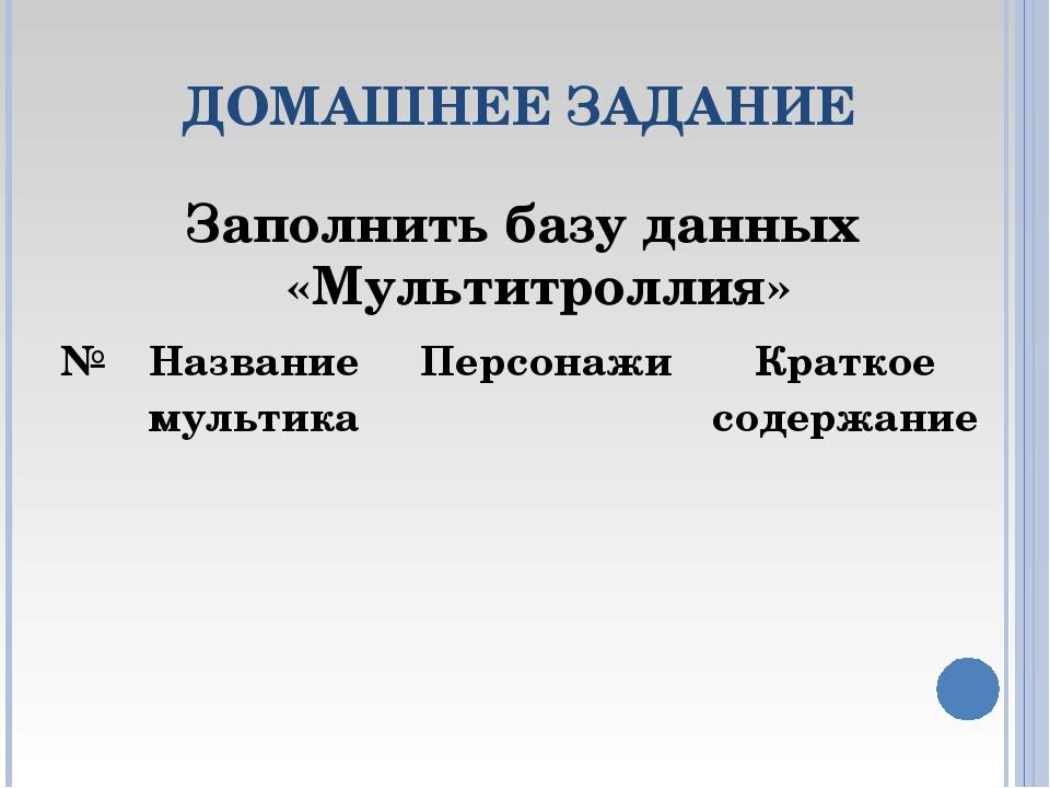 ДОМАШНЕЕ ЗАДАНИЕ Заполнить базу данных «Мультитроллия» №Название мультикаПе...