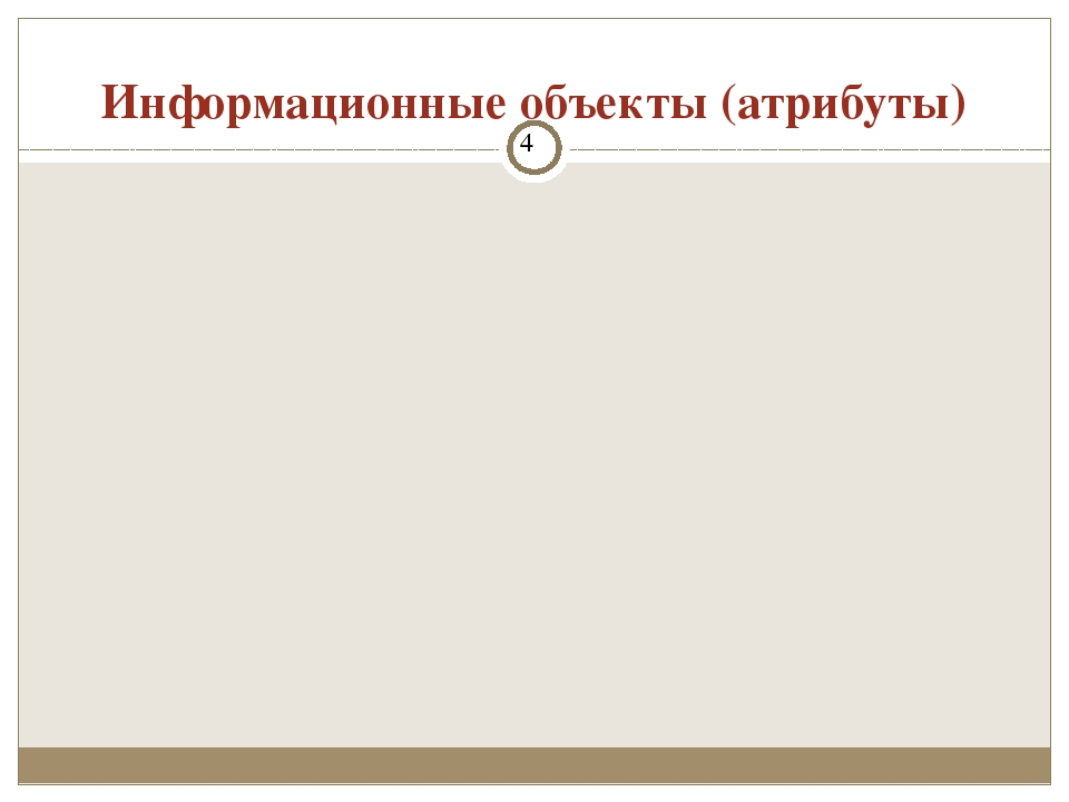 Информационные объекты (атрибуты) Проектирование базы данных