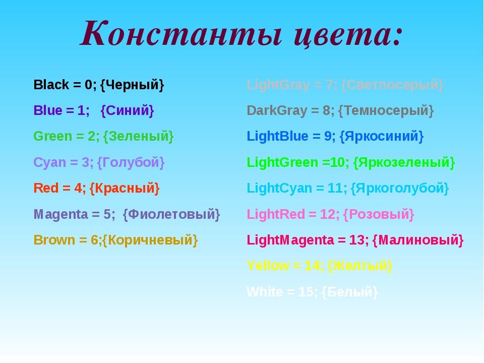 Константы цвета: Black = 0; {Черный} Blue = 1;  {Синий} Green = 2; {Зеленый}...
