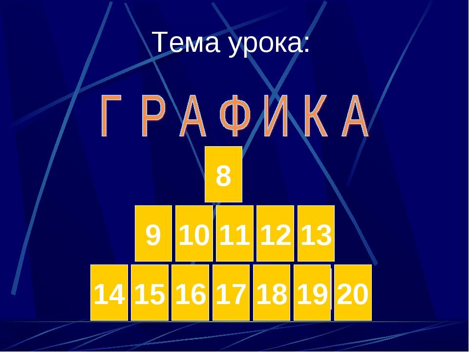 Тема урока: 8 10 9 11 12 13 15 14 16 17 18 19 20