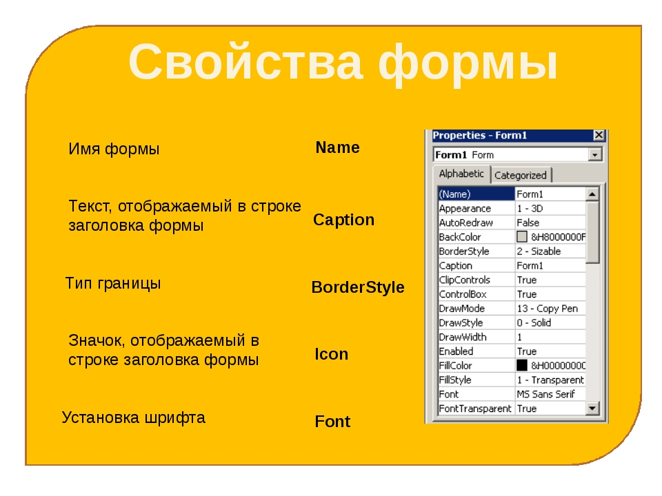 Свойства формы Имя формы Name Текст, отображаемый в строке заголовка формы C...