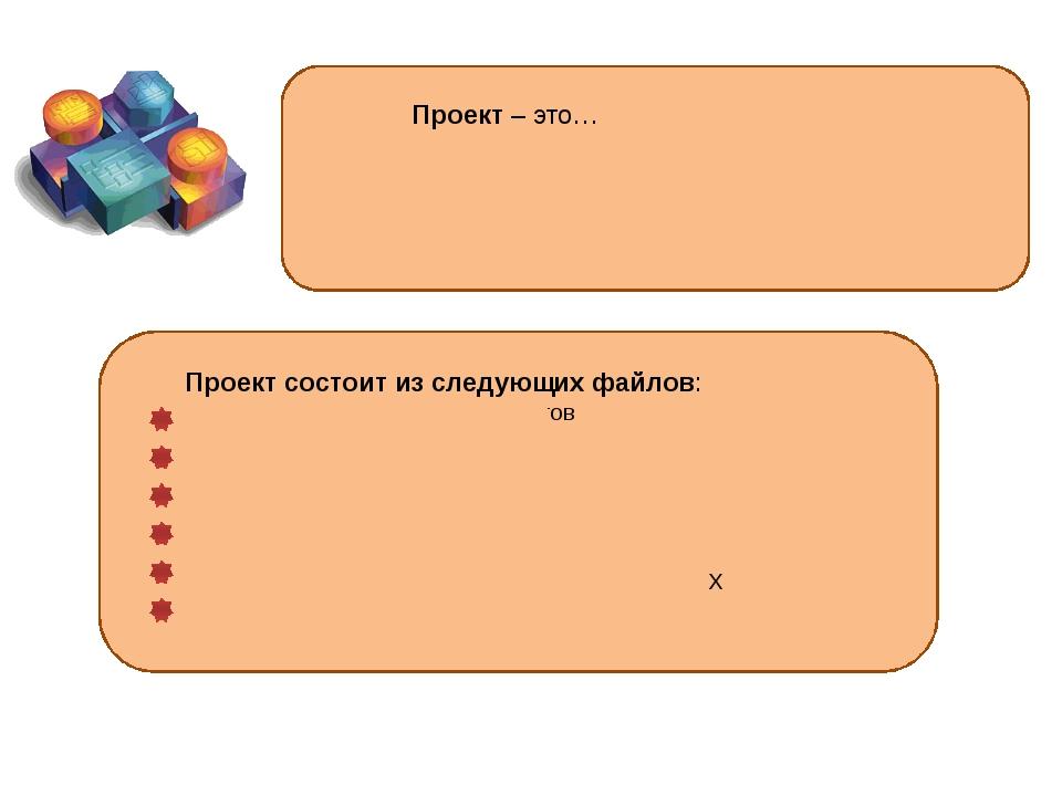 Проект – это… группа всех файлов, которые составляют программу, включая форм...