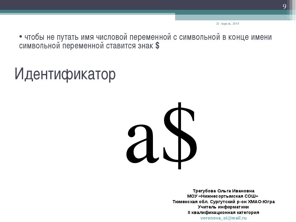 Идентификатор a$ чтобы не путать имя числовой переменной с символьной в конце...