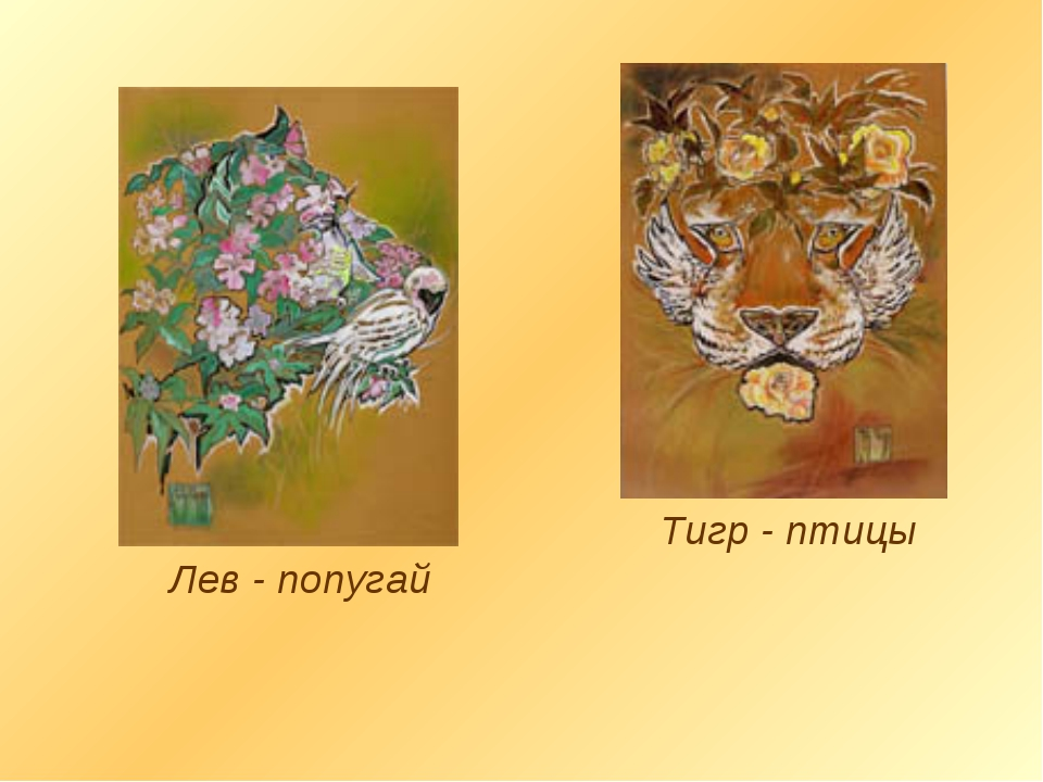 Лев - попугай Тигр - птицы