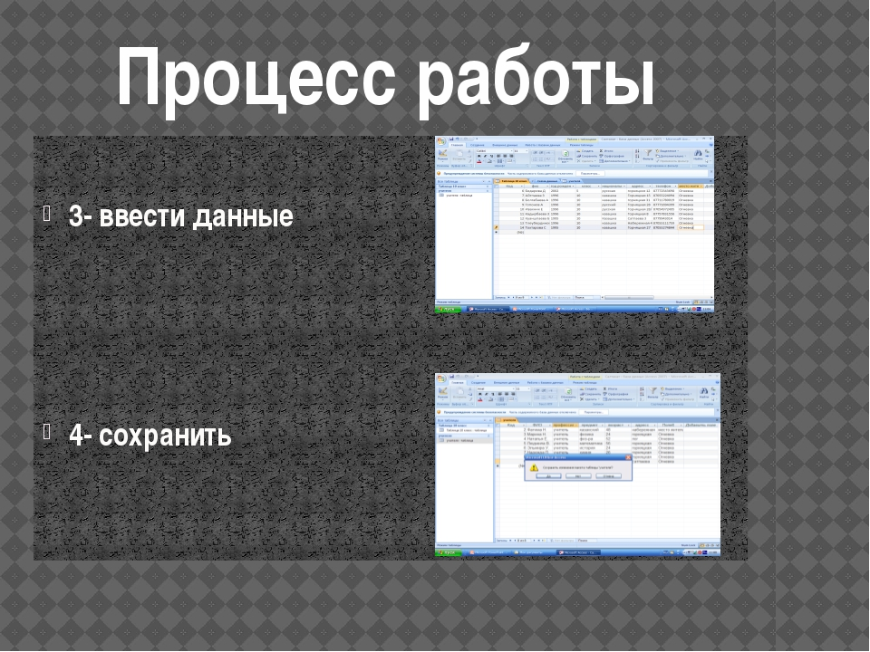 3- ввести данные 4- сохранить Процесс работы