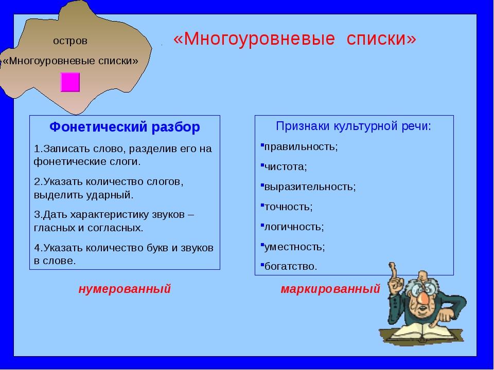 остров «Многоуровневые списки» «Многоуровневые списки» Фонетический разбор 1....