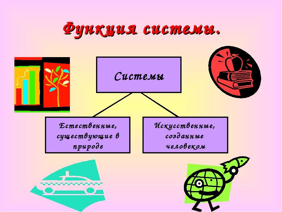 Функция системы. Системы Естественные, существующие в природе Искусственные,...