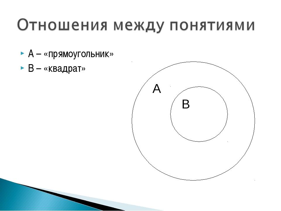 А – «прямоугольник» В – «квадрат»