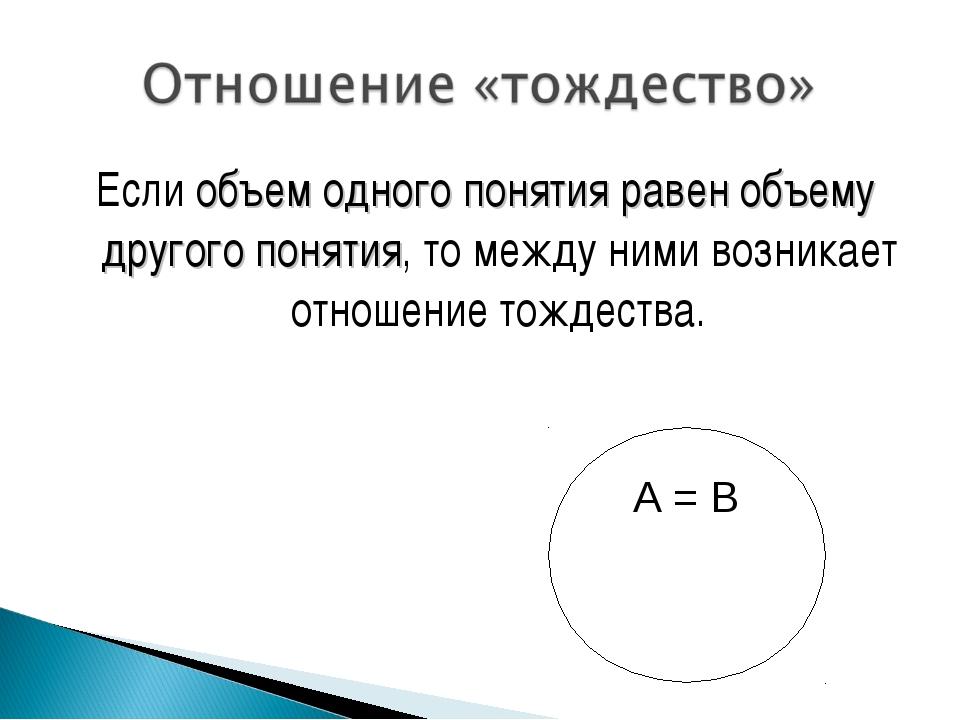 Если объем одного понятия равен объему другого понятия, то между ними возника...