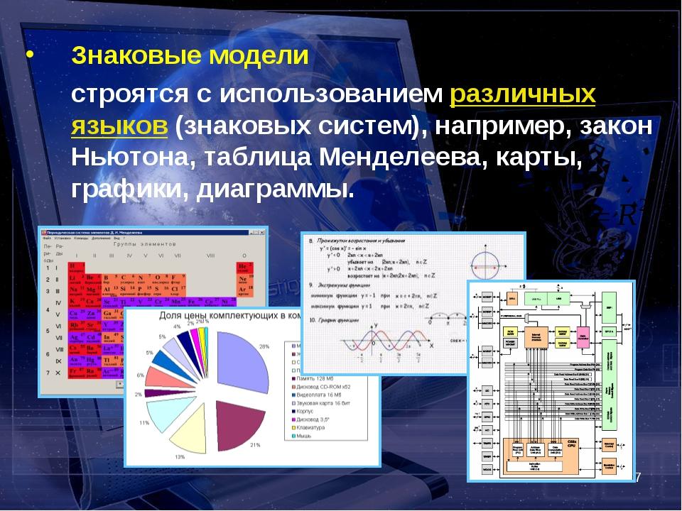 * Знаковые модели строятся с использованием различных языков (знаковых систе...