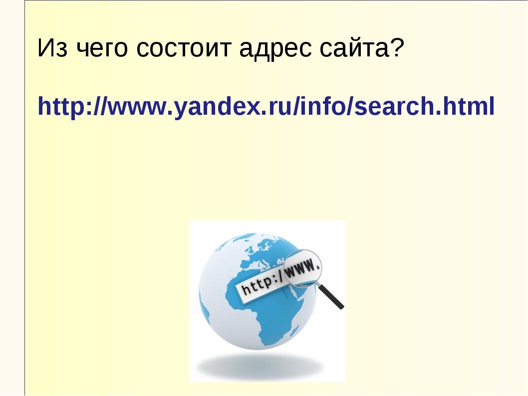 Из чего состоит адрес сайта? http://www.yandex.ru/info/search.html