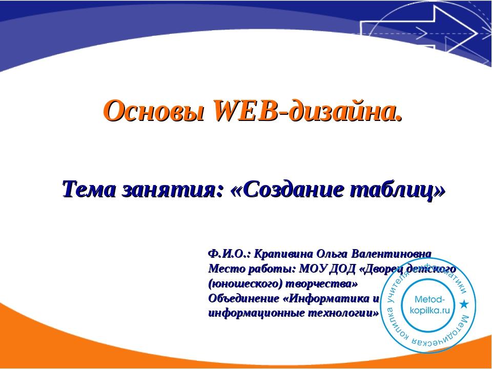 Тема занятия: «Создание таблиц» Основы WEB-дизайна. Ф.И.О.: Крапивина Ольга В...