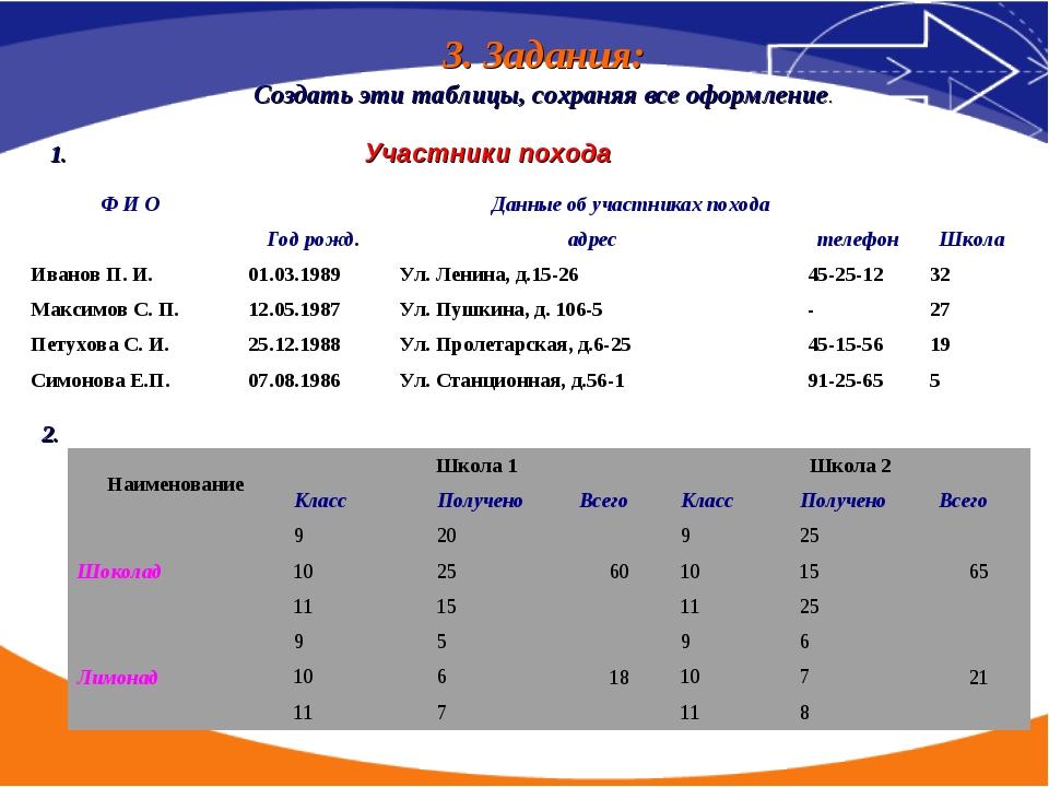 3. Задания: Создать эти таблицы, сохраняя все оформление. 1.Участники похо...