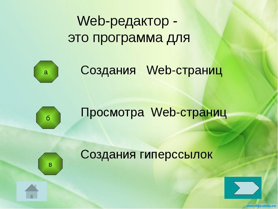 б в Создания Web-страниц Просмотра Web-страниц Создания гиперссылок Web-редак...