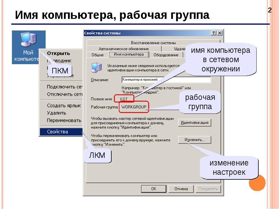 * Имя компьютера, рабочая группа ПКМ ЛКМ имя компьютера в сетевом окружении р...