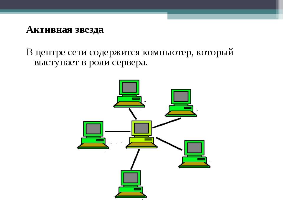 Активная звезда В центре сети содержится компьютер, который выступает в роли...
