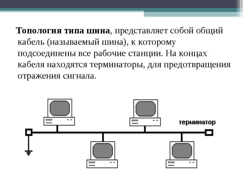 Топология типа шина, представляет собой общий кабель (называемый шина), к ко...