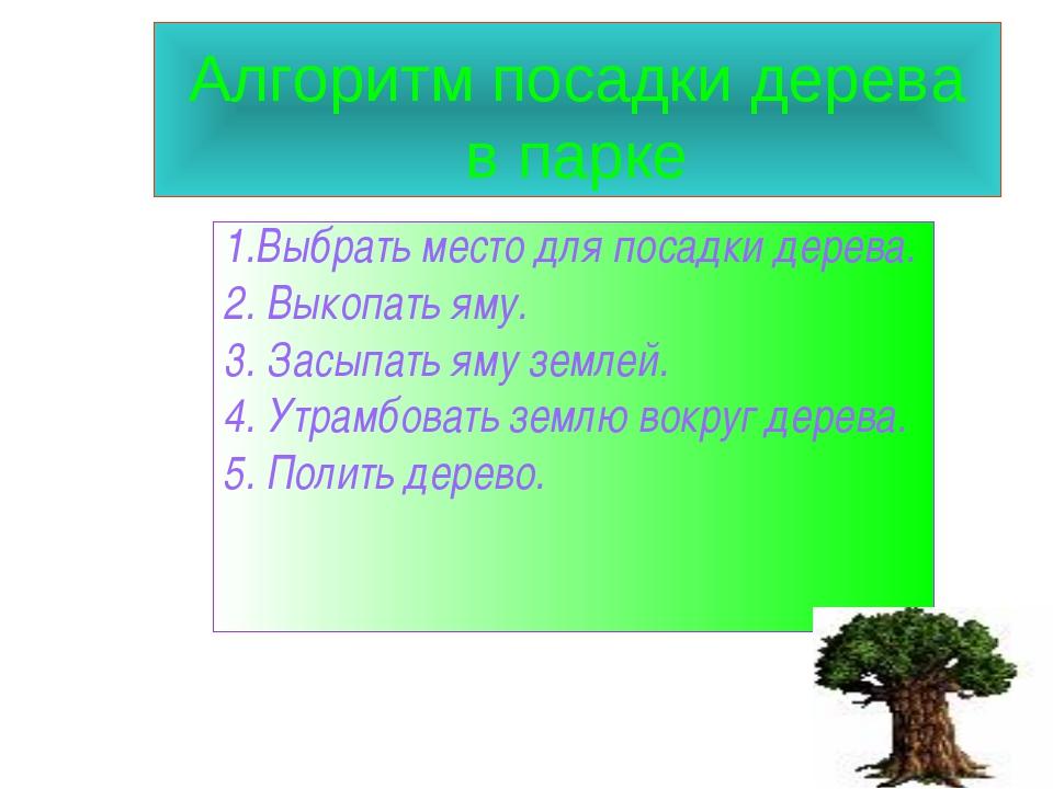 Алгоритм посадки дерева в парке 1.Выбрать место для посадки дерева. 2. Выкопа...