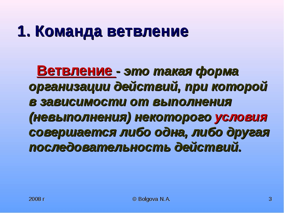 2008 г © Bolgova N.A. * 1. Команда ветвление Ветвление - это такая форма орга...