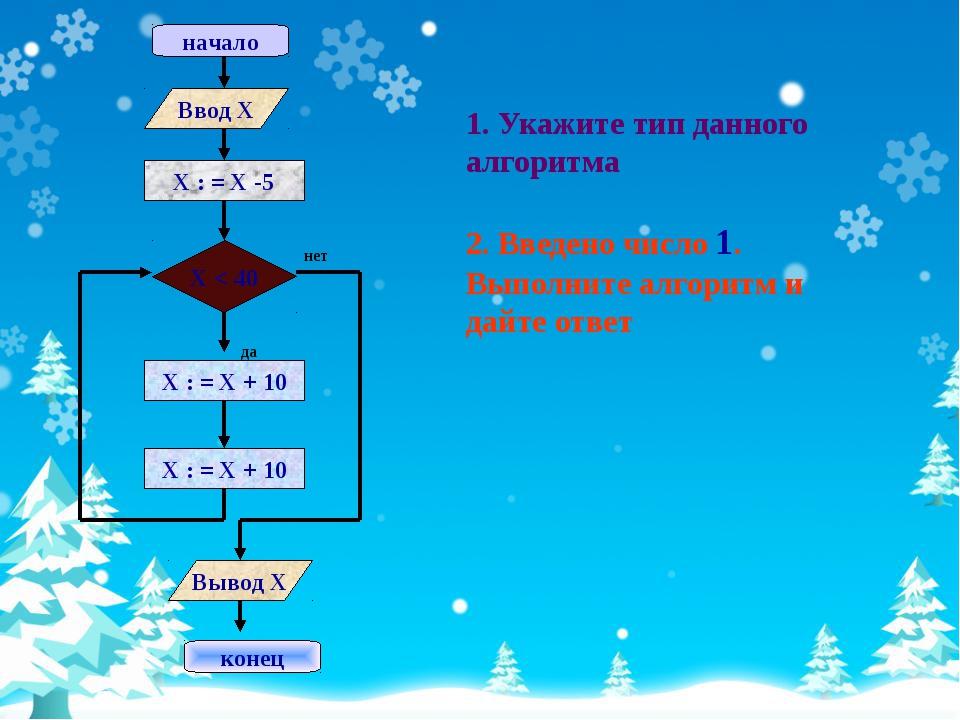1. Укажите тип данного алгоритма 2. Введено число 1. Выполните алгоритм и дай...