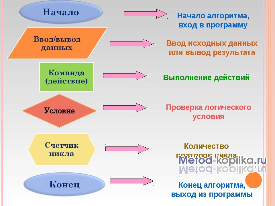 Начало алгоритма, вход в программу Конец алгоритма, выход из программы Ввод и...