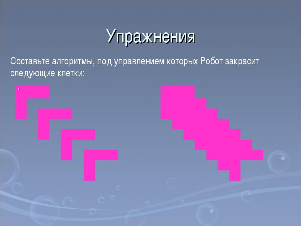 Упражнения Составьте алгоритмы, под управлением которых Робот закрасит следую...
