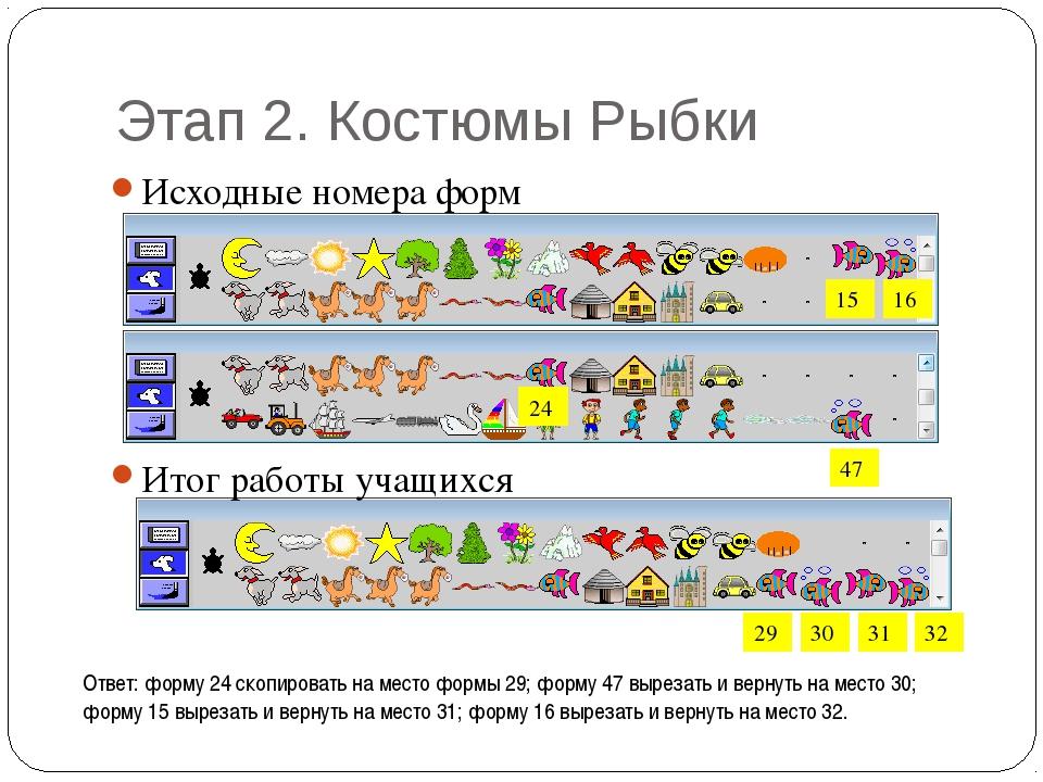 Этап 2. Костюмы Рыбки Исходные номера форм 29 30 31 32 Итог работы учащихся 1...