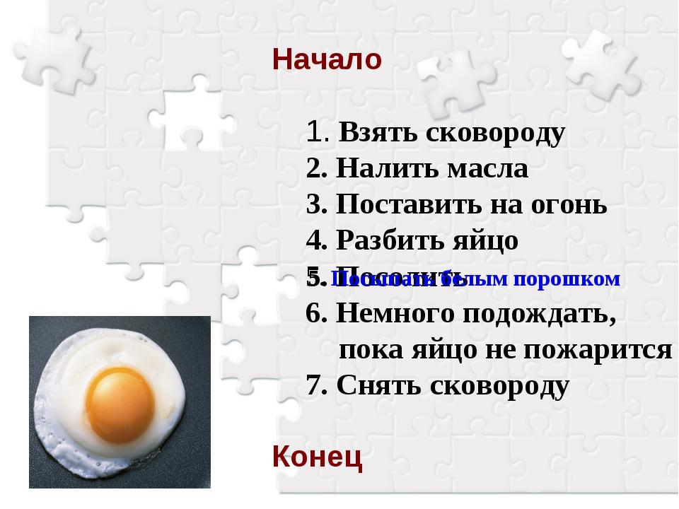 Начало 1. Взять сковороду 2. Налить масла 3. Поставить на огонь 4. Разбить яй...