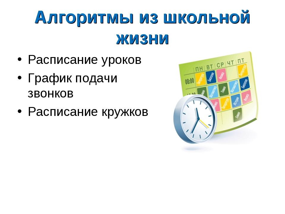 Алгоритмы из школьной жизни Расписание уроков График подачи звонков Расписани...