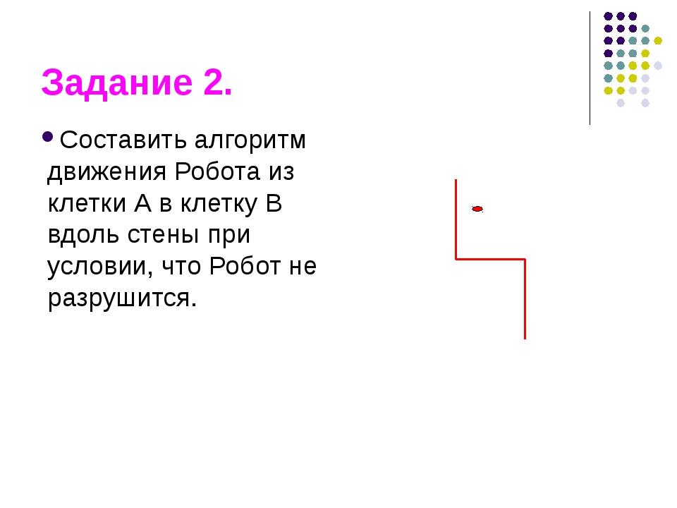 Задание 2. Составить алгоритм движения Робота из клетки А в клетку В вдоль ст...