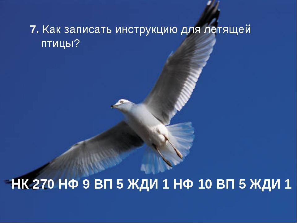 7. Как записать инструкцию для летящей птицы? НК 270 НФ 9 ВП 5 ЖДИ 1 НФ 10 ВП...