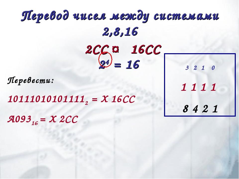 Перевод чисел между системами 2,8,16 2СС ↔ 16СС 24 = 16 Перевести: 1011101010...