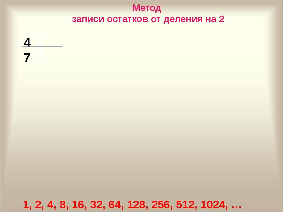 1, 2, 4, 8, 16, 32, 64, 128, 256, 512, 1024, … 47 Метод записи остатков от де...