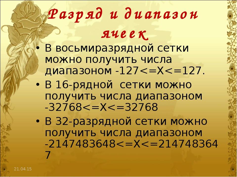 * Разряд и диапазон ячеек В восьмиразрядной сетки можно получить числа диапаз...