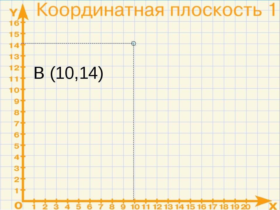 В (10,14)