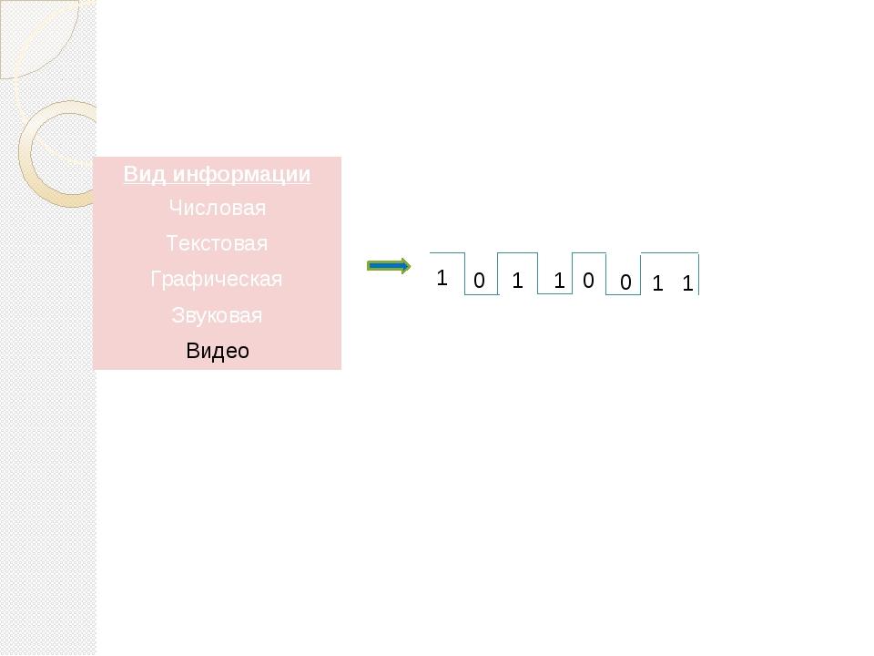 1 0 1 1 0 0 1 1 Вид информации Числовая Текстовая Графическая Звуковая Видео