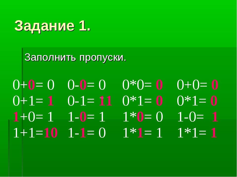 Задание 1. Заполнить пропуски. 0+0= 0 0+1= 1 1+0= 1 1+1=100-0= 0 0-1= 11 1-0...