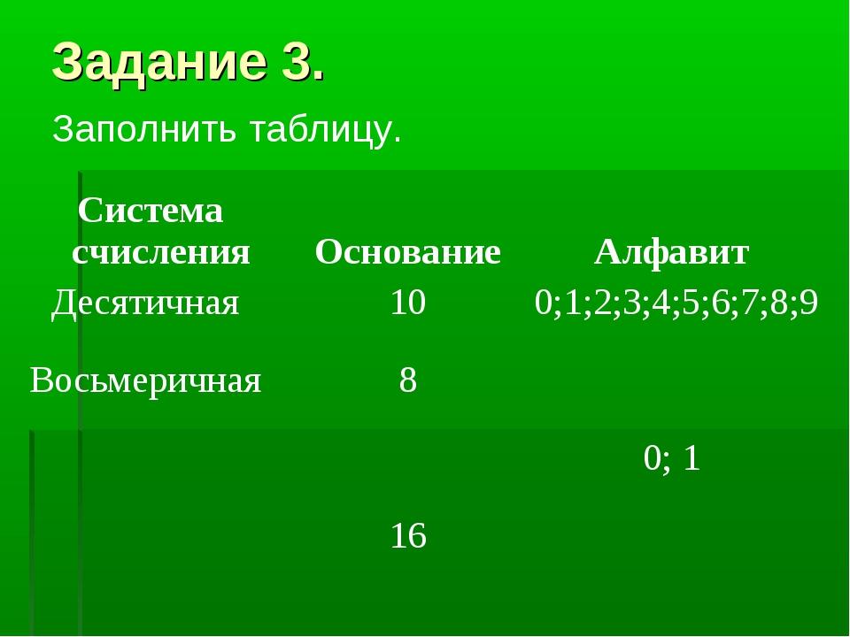 Задание 3. Заполнить таблицу. Система счисления Основание Алфавит Десятична...