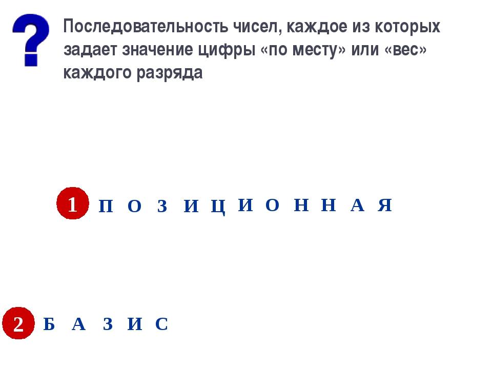 Последовательность чисел, каждое из которых задает значение цифры «по месту»...