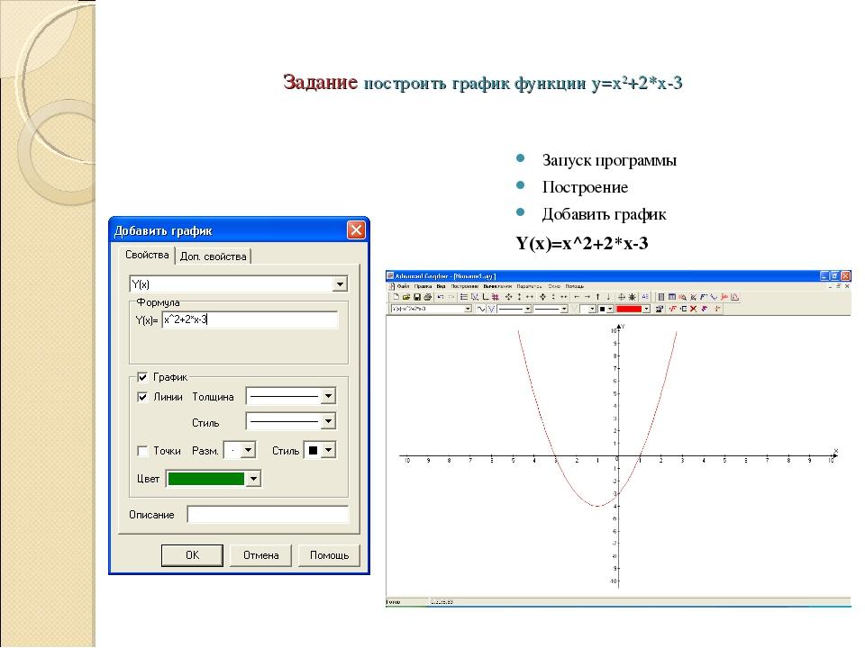 Задание построить график функции y=x2+2*x-3 Запуск программы Построение Добав...